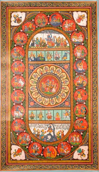 Krishna, the Rasamandala and Ten Avatars of Vishnu