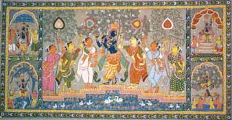 Krishna with His Female Friends (Scroll Painting)