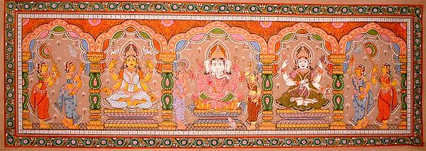 Lakshmi, Ganesha, and Saraswati
