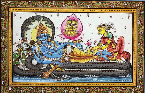 Lord Vishnu with Lakshmi and Saraswati on Sheshnag and Brahma on Lotus