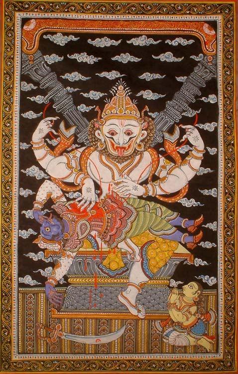 Narasimha Avatar of Vishnu with Prahlada