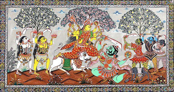 Goddess Durga Slaying Mahishasur and other Demons