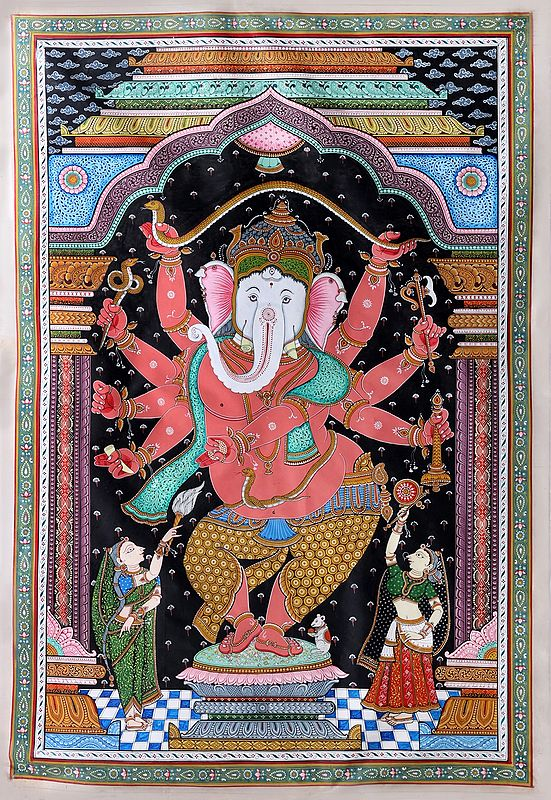 Super Fine Painting of Lord Ganesha Stretching Serpent Making Canopy