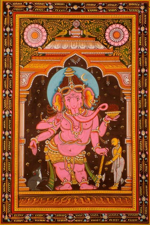 Pink Ganesha in Tribhanga
