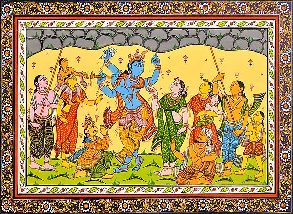 Shridama and Madhumangal Help Krishna Lift Mount Govardhana