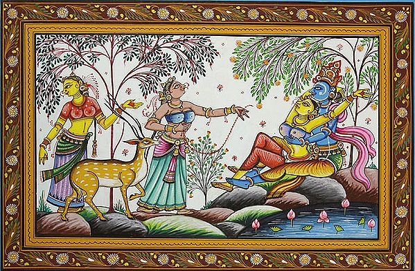 Radha Krishna on the Banks of Yamuna with Gopis