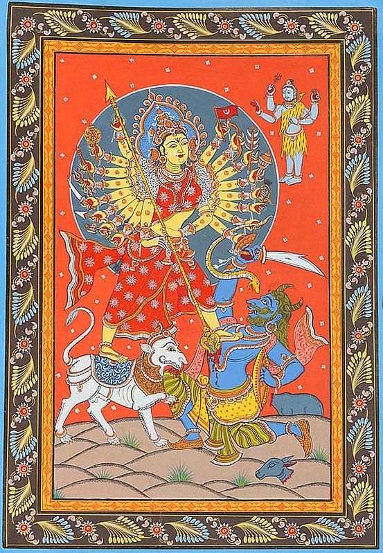 Eighteen-armed Durga killing Mahishasura (Illustration to the Shiva Purana)