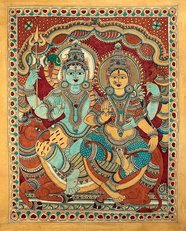 Shiva Parvati Seated on Nandi