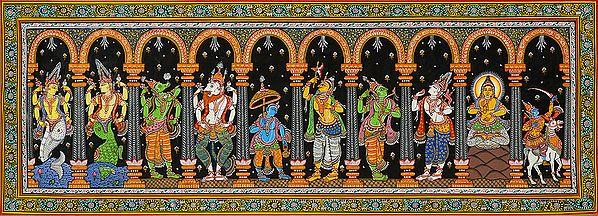 Dashavatara Panel: Ten Incarnations of Vishnu (From Left - Matshya, Kurma, Varaha, Narasimha, Vaman, Parashurama, Rama, Balarama, Buddha and Kalki)