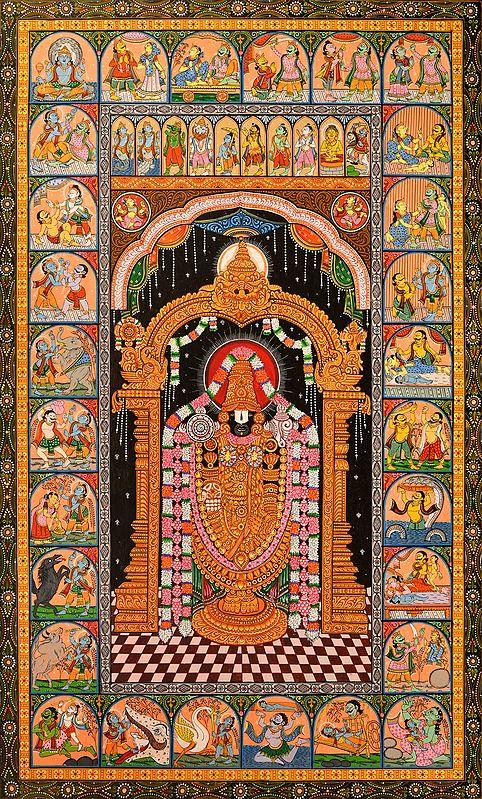 Lord Venkateshvara with Ten Incarnations of Vishnu and Scenes of Shri Krishna Lila