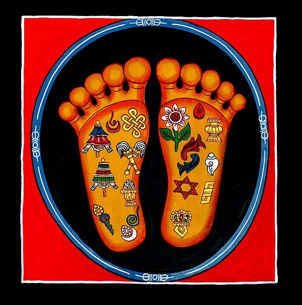 Auspicious Ashtamangala Symbols on Lotus Feet