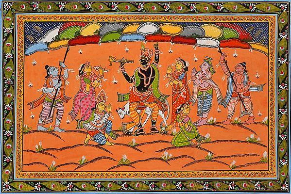 Govardhan Mount Upon The Finger Of Lord Krishna