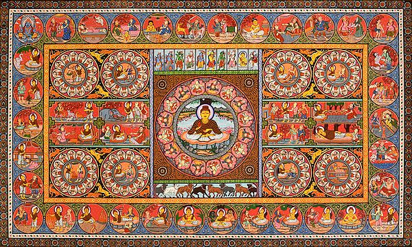 Gautama Buddha Mandala and His Life with Dashavatara of Vishnu