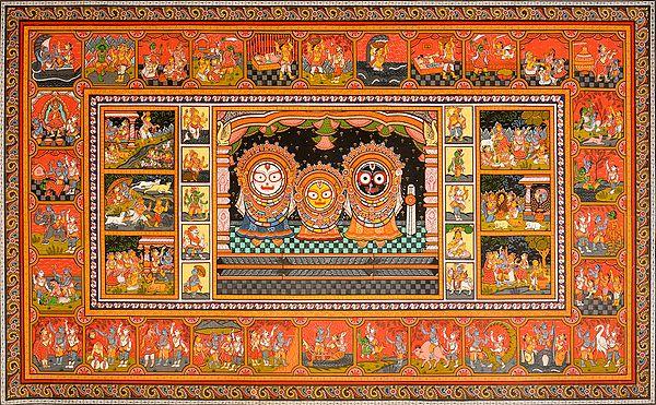 Shri Jagannatha-Pata with the Life of Krishna and Dashavatara of Vishnu