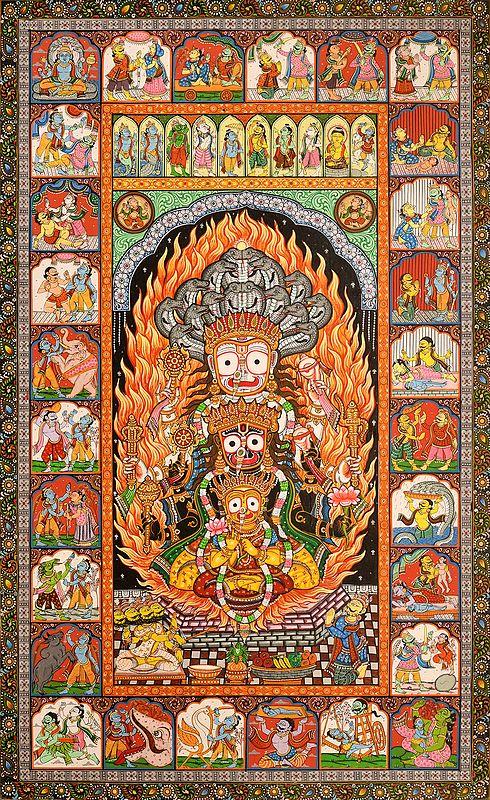 Shreekshetra Patti with Life of  Krishna and Dashavatara
