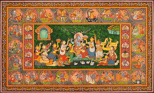 Shri Krishna with Gopis, His Lilas and Dashavatara