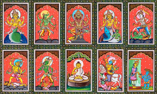 Dashavatara -  The Ten Incarnations of Lord Vishnu (Set of Ten Paintings)