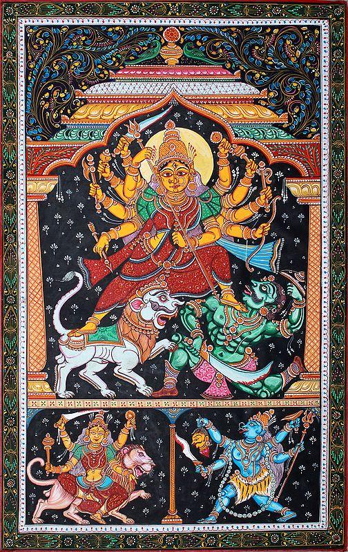 Goddess Durga Slaying the Demon Mahishasur with Goddess Kali and Simhavahini Durga