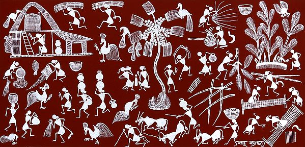 Warli People Engaged in Daily Life Activities