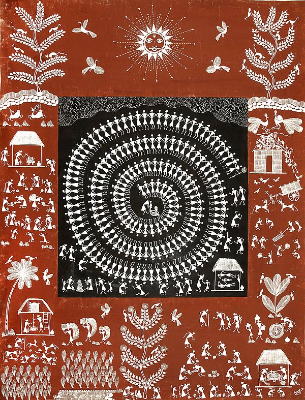 Warli Landscape with Tarpa Dance in Centre