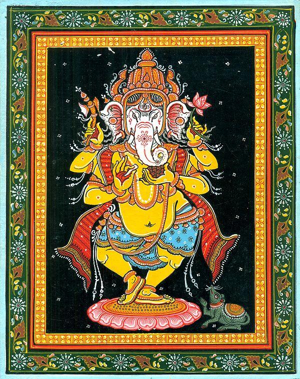 Gloriously Crowned Dancing Ganesha