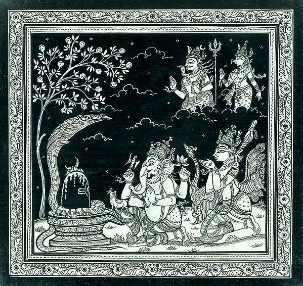 Ganesha and Kartikeya Worshiping the Shiva Linga