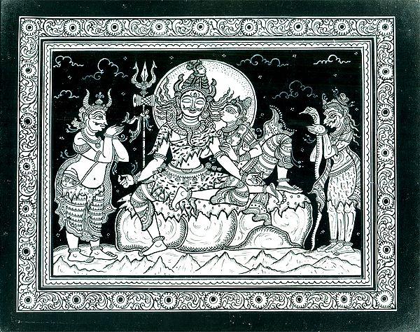 Lord Shiva in Meditaion as Parvati Playfully Disturb Him
