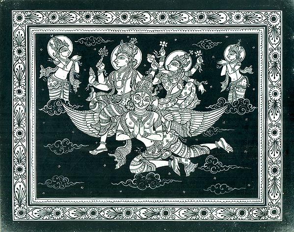 Vishnu and Lakshmi Riding on Garuda