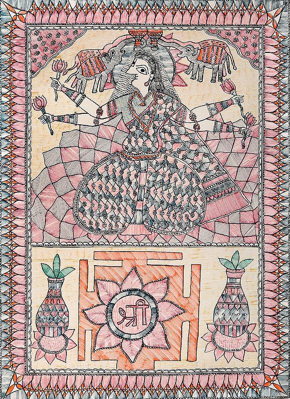 Mahavidya Kamala with Her Yantra