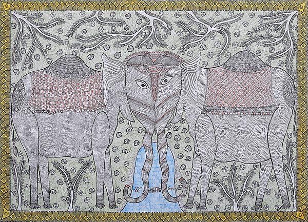 Two Elephants Worshiping the Shiva
