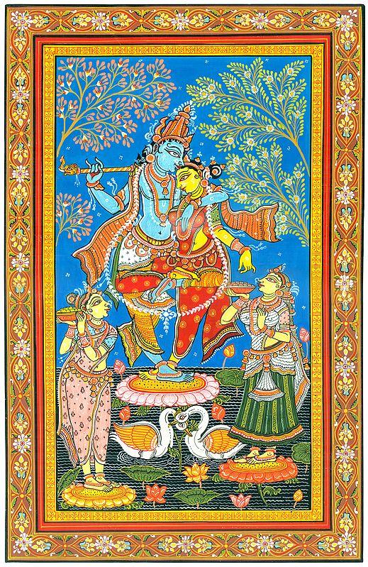 Fine Painting of Dancing Radha Krishna with Gopis