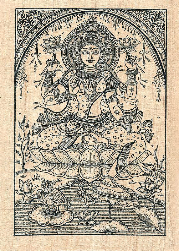 Lotus Goddess Lakshmi with Her Owl