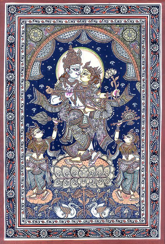 Standing Radha-Krishna On A Multi-Petalled Lotus