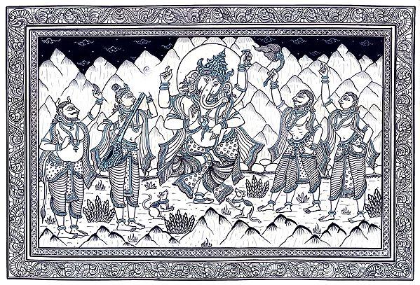 Dancing Lord Ganesha is Being Appreciated by Nandi Naarad and Devotees