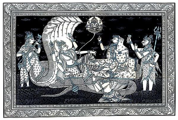 Lord Vishnu Laying on Sheshnaag While All Deities Worshipping