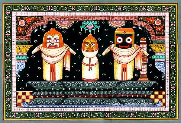 Jagannath-Balarama-Subhadra Clad In Ivory Garments