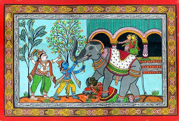 Lord Krishna and Balarama Killing The Demon Elephant Kuvalayapeeda