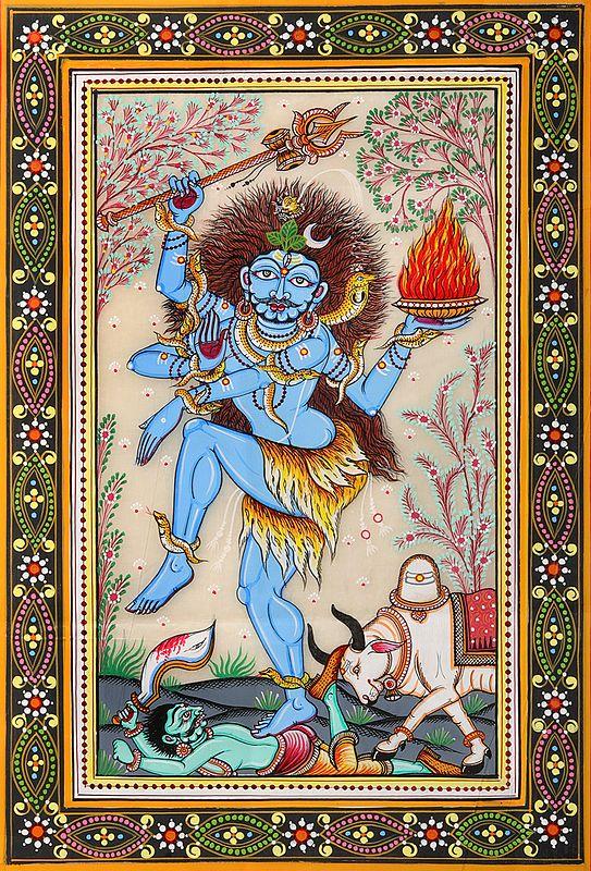 Fierce Lord Shiva With Nandi Killing The Demon
