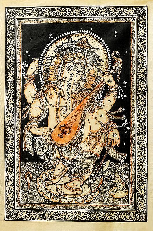 Musical Lord Ganesha Playing Veena