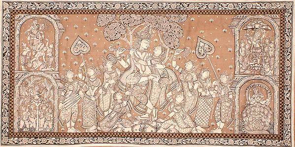 Radha and Krishna with Gopis