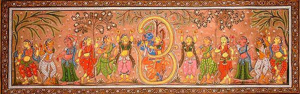 Radha Krishna Enclosed in Aum