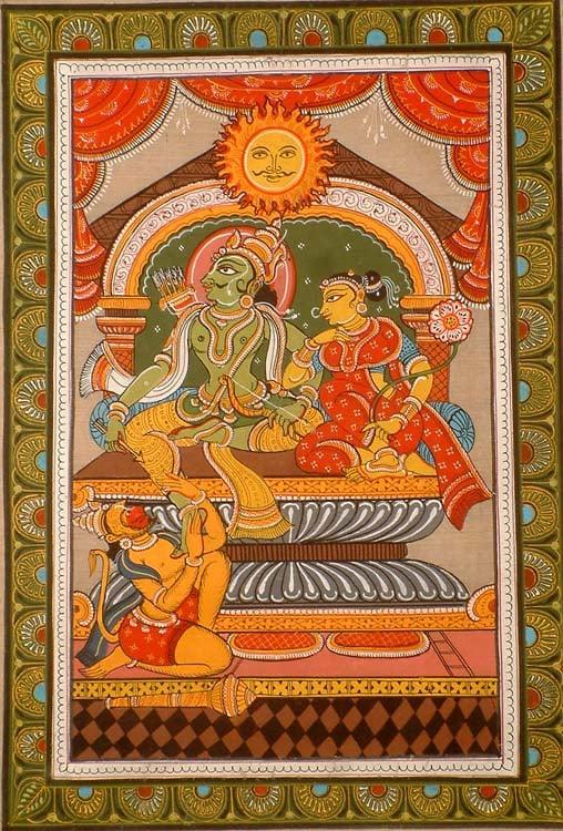 Rama of the Sun Clan (Surya-vanshi) with Sita and Hanuman