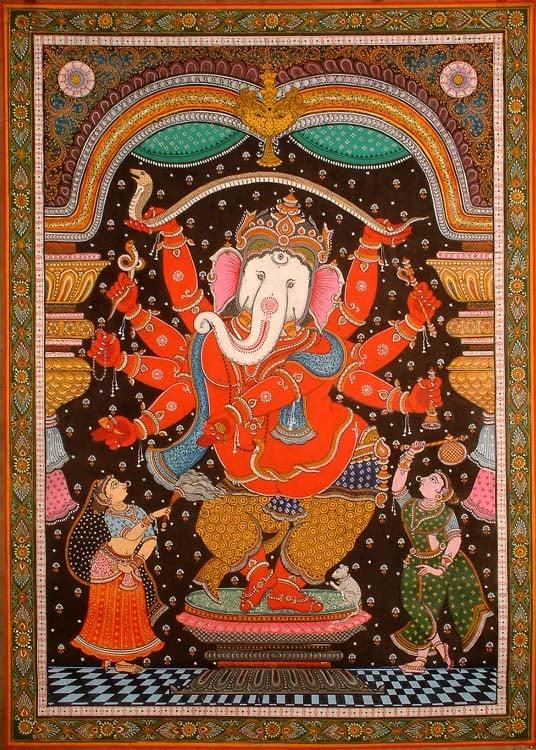 Red Ganesha with a White Elephant Head