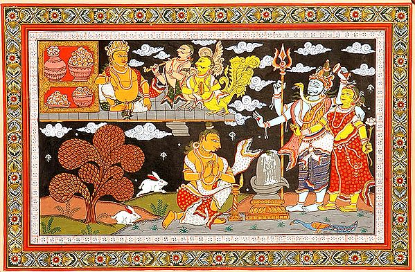 Shiva and Parvati Bless a Bhakta Even as One-Eyed Kubera Looks On