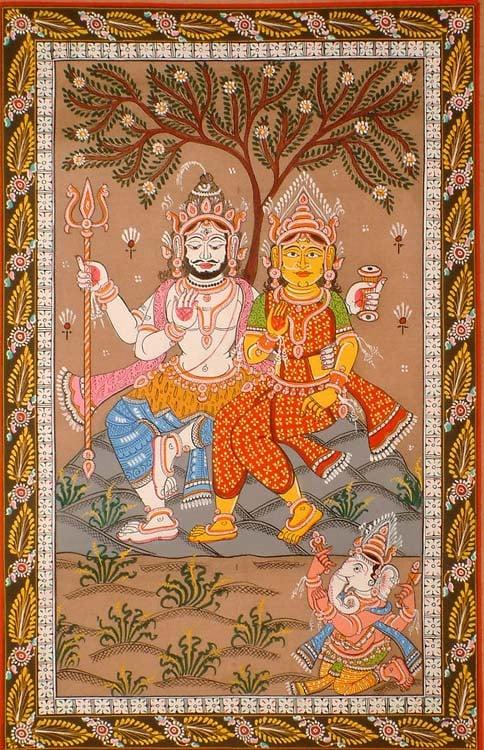 Shiva and Parvati Venerated by Ganesha