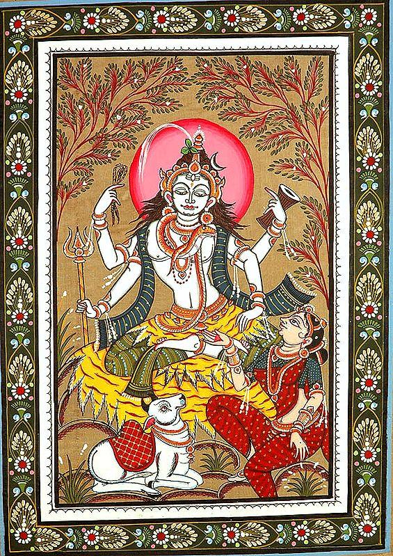 Shiva Parvati with Nandi