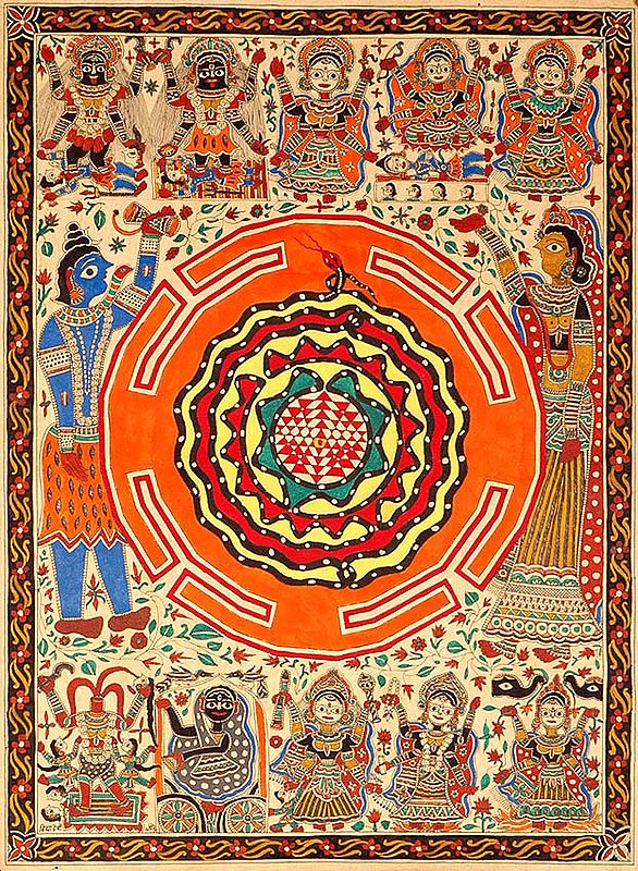 The Birth of Ten Mahavidyas with Shiva Parvati and Serpent Coiled Shri Chakra