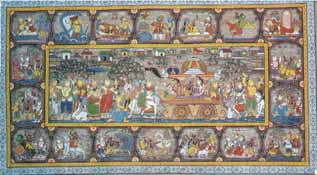 The Story of Krishna's Life (Scroll Painting)