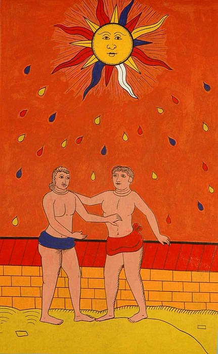 The Sun (Folk Tarot Card Illustration)