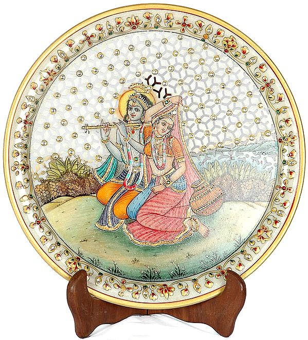Fluting Krishna with Radha (With Lattice)